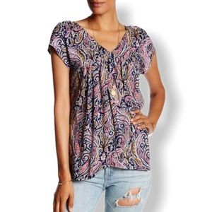 {Lucky Brand} Mixed Paisley Print Blouse